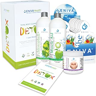 Detox and Cleanse 7 Day NO DIETING Kit for Weight Loss, Belly Fat, Liver, Colon | All Natural. Non Fasting. Complete Kit (with packets). Voted Best 2018. Eniva Health