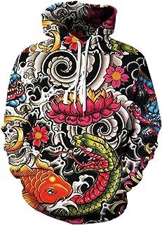 DANDAN 3D Colorido del Estampado De Animales Comfort Adecuado para Adultos Pullover Sudaderas con Capucha Unisex Moda Fish...