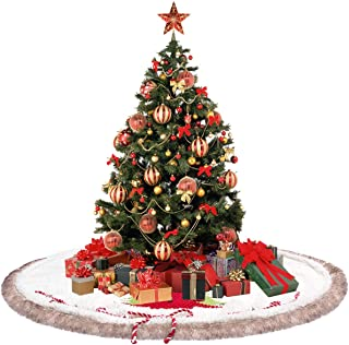 CELIVESGG Faux Fur Christmas Tree Skirt 48 inch White Plush Holiday Ornaments with Trim Border,Classic Jingle Bell & Christmas Tree Decoration