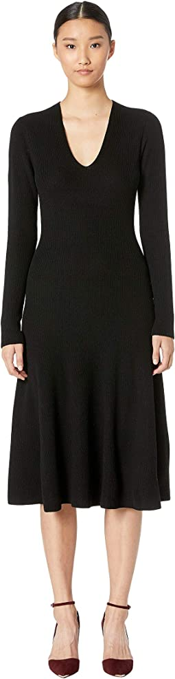 Cashfeelyn Merino Wool V-Neck Long Sleeve Knit Day Dress