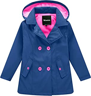 Wantdo Girl's and Boy's Fleece Rain Jacket Waterproof Windbreaker with Removable Hood