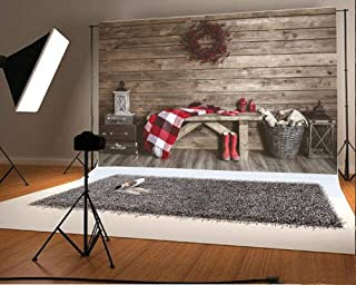 SZZWY 10x6.5ft Vinyl Backdrop Winter Home Decoration Photography Background Christmas Rustic Interior Farmhouse Style Vintage Barn Scarf Boot Old Lantern Wreath Wooden Wall Floor Stripe Backdrop
