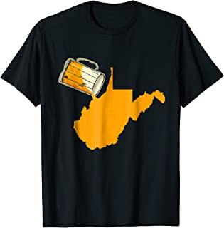I Love Beer Map of West Virginia Funny USA Patriot T-Shirt