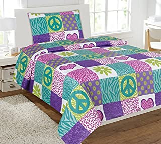 Linen Plus Twin Size 3pc Sheet Set for Girls Safari Zebra Leopard Print Flowers Peace Signs Turquoise Pink Green White Purple New