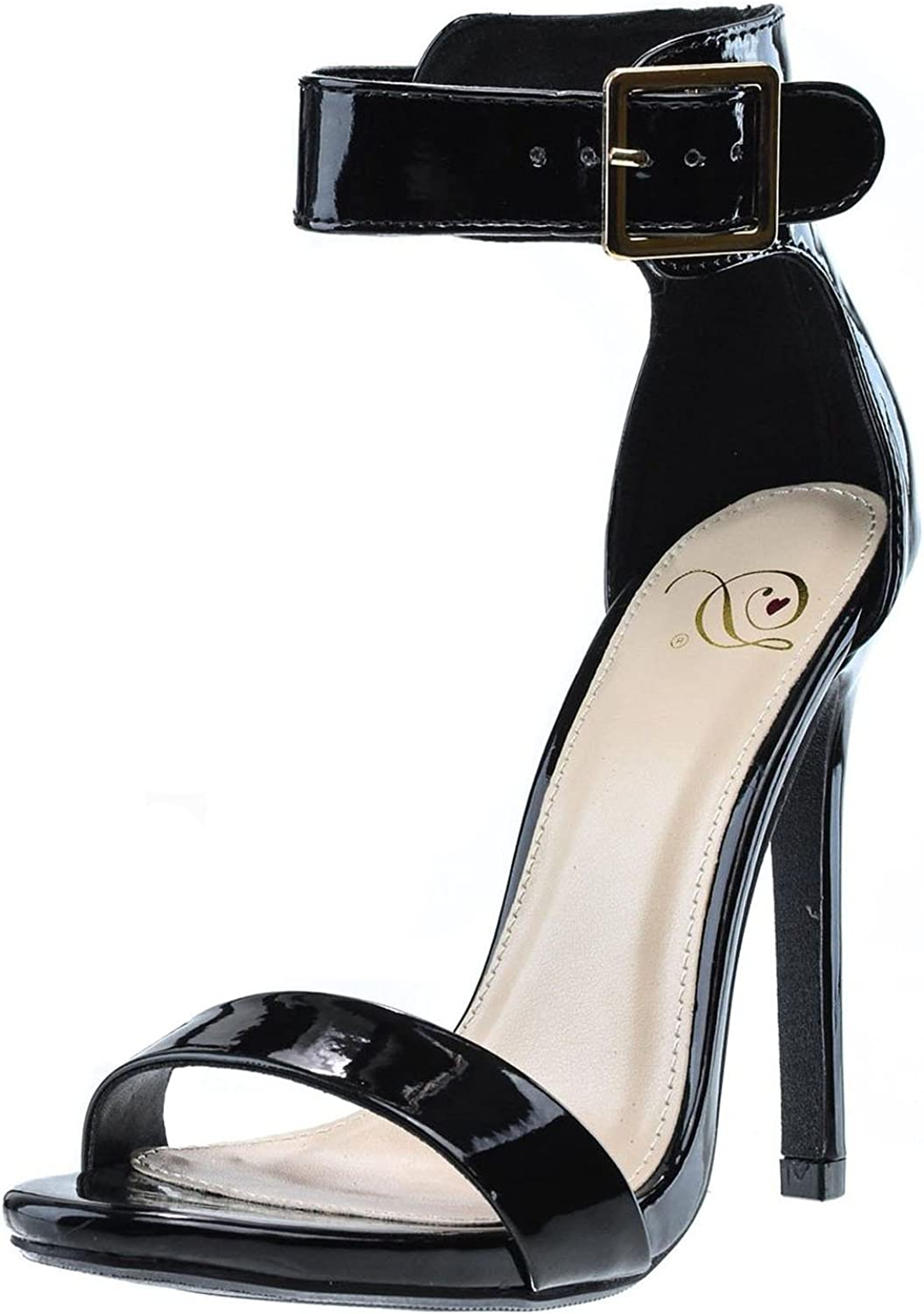 Delicious Womens Canter Classy Dress Open Toe Buckle Ankle Strap Stiletto Heel Sandals,Black Pat,5.5