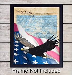 America - We the People - Unframed Wall Art Print - Great Modern Home Decor - Perfect Easy Gift - Ready to Frame (8x10) Photo - Collage - Memorial, Veterans, President's Day - 4th of July