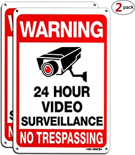 HISVISION Video Surveillance Sign 2-Pack, No Trespassing Metal Reflective Warning Sign,UV Protected & Waterproof, 10