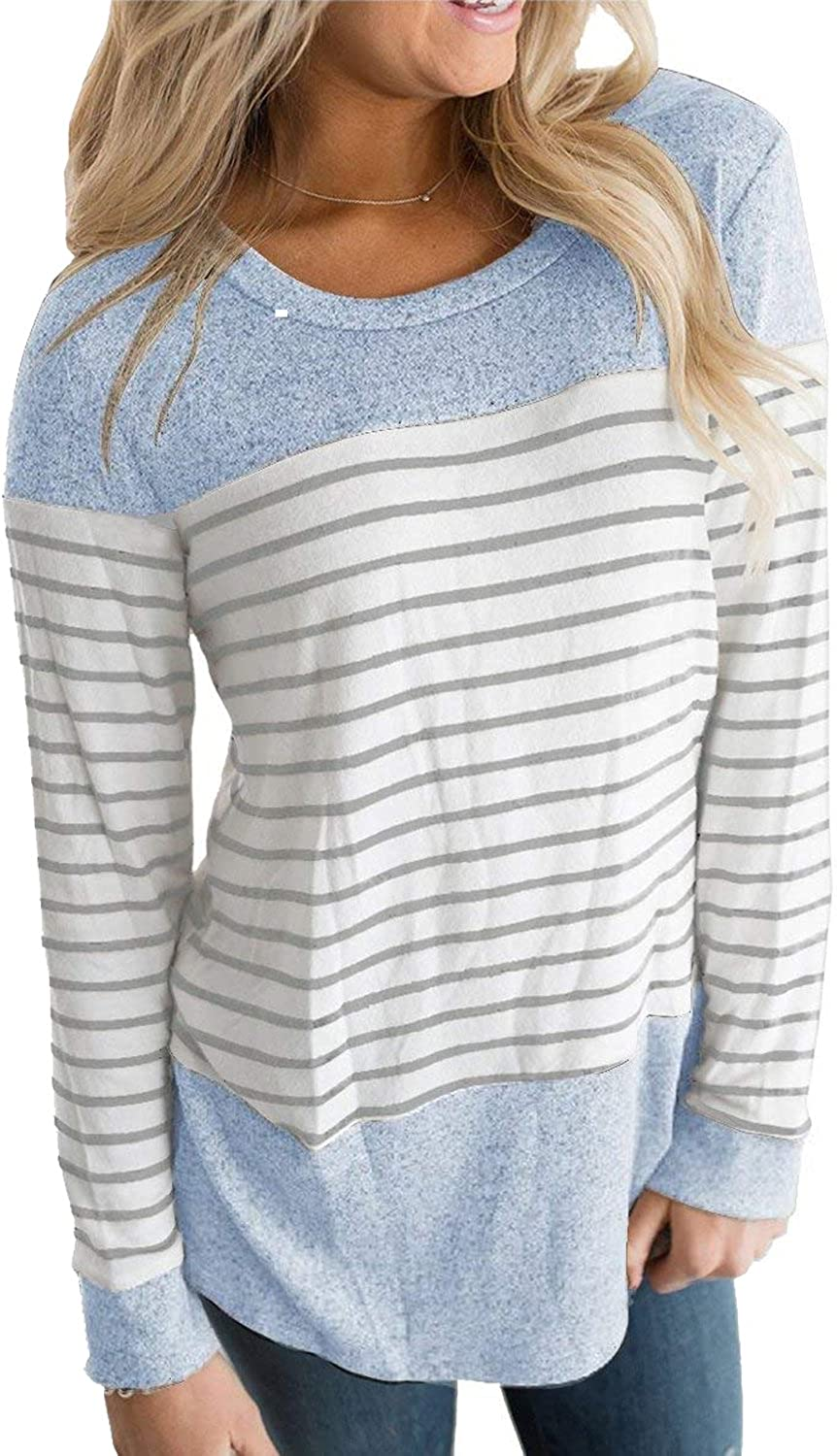 Hount Women's Round Neck Long Sleeve Blouse Shirts Casual Striped Tunic Tops