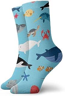 wwoman, Calcetines de vestir estampados para hombre y mujer Animales de mar Calcetines coloridos divertidos y novedosos Crazy Crew 30 cm