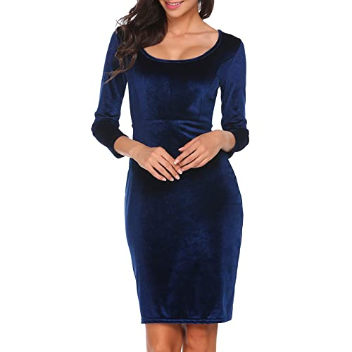 2684ab651181 ACEVOG Women s Velvet 3 4 Sleeve Bodycon Pencil Vintage Dress Navy Blue
