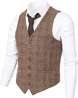 Men's Slim Fit Herringbone Tweed Suits Vest Premium Wool Blend Waistcoat