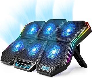 【2020年最新 強冷 冷却ファン】 KEYNICE ノートパソコン 冷却パッド 冷却台 pcクーラー 冷却 静音 放熱最高 USBポート2口 無段階風量調整 7段階高さ調整 17インチまでの ノートpc/iPad/Macbook/Macboo...