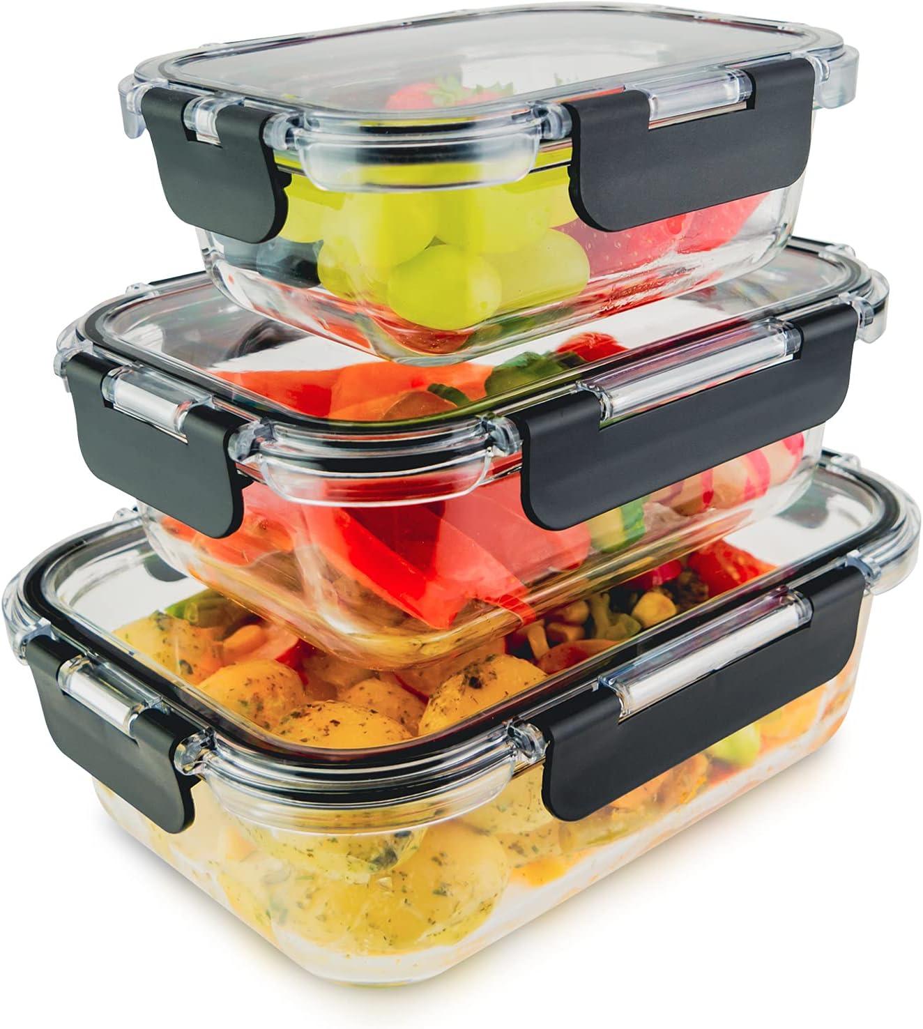 edallo® 3 recipientes de cristal para alimentos con tapas de Tritan® - Aptos para microondas, horno, congelador, lavavajillas - Tapers vidrio herméticos botes cocina - Juego: 370ml, 640ml, 1040ml