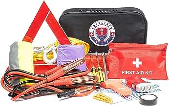 Roadside Assistance Emergency Car Kit - First Aid Kit, Jumper Cables, Tow Strap, led Flash Light, Rain Coat, Tire Pressure...