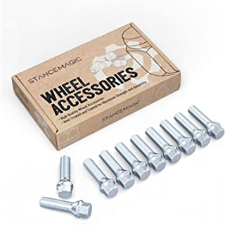 10pcs Extended Silver 12x1.5 Lug Bolts (50mm Shank Length, Cone Seat) Not OEM Length - Compatible with BMW 128i 135i 318i ...