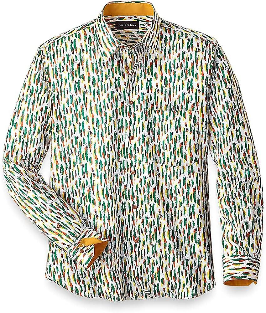 Paul Fredrick Men's Easy Care Cotton Stripe Casual Shirt