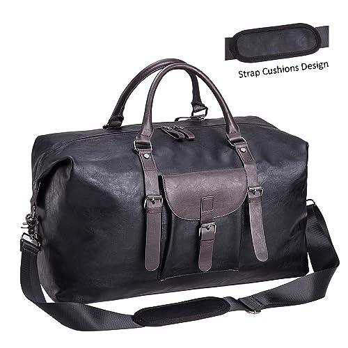 Oversized Leather Travel Duffel Bag Black,Weekender Overnight Bag  Waterproof Leather Large Carry On Bag 6d4ea941b4013