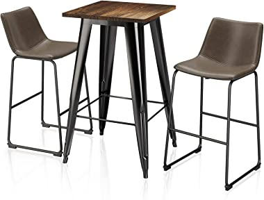 "VIPEK 29"" Brown Mid Century Modern Bar Stools & Dining Table Set, 41.3"" High Table with Solid Wood, PU Faux Chair for Bistro"