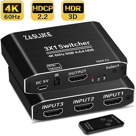 ZasLuke HDMI切替器 HDMI分配器 3入力1出力 自動手動切替機能搭載 高速HDMIセレクター 4K60Hz HDMI2.0 HDCP 2.2 3D フル HD 1080Pに対応、PS4、Xbox、Apple TV、Fire Stickに18.5Gbpsをサポート