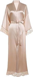 BABEYOND Satin Kimono Robe Long Bridesmaid Wedding Bath Robe with Lace Trim