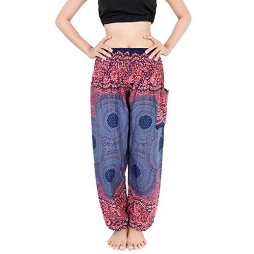 9f83edc4e60352 Banjamath® Women's Smocked Waist Harem Hippie Boho Yoga Palazzo Casual Pants