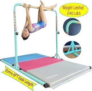FCfuncheer Expandable Gymnastics kip Training bar and Foldable Gymnastic mat, Fiberglass Cross bar & 304 Stainless Inserting Adjustable arm,Safe Training for Children