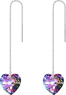 EVER FAITH 925 Sterling Silver Birthday Gift CZ Cute Love Heart Ear Threader Dangle Earrings