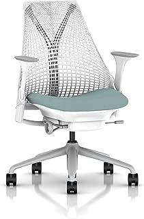 Herman Miller Sayl Task Chair: Tilt Limiter - Stationary Seat Depth - Stationary Arms - Hard Floor Casters - Fog Base/Studio White Frame