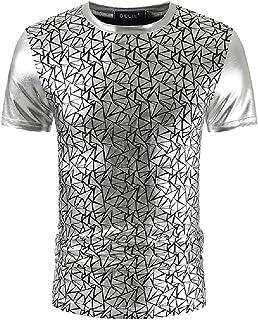 Abeaicoc Men Shiny Sequins Metallic Crewneck Print Slim Fit Short Sleeve T Shirts Tee