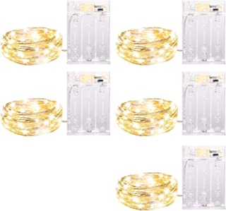 5 Pack Fairy Lights 7 Feet 20 Led Battery Operated String Lights with Time Function, Waterproof Firefly Lights on Silver Wire for Home Party Wedding Decorations, 6 Hours on/18 Hours Off, Warm