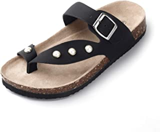 SANDALUP Slide Sandals Inlaid with Pearls Flip Flop for Women