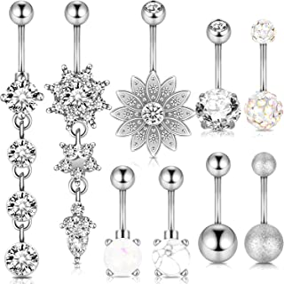 Jdxn 6-8pcs 14g Stainless Steel Belly Button Rings