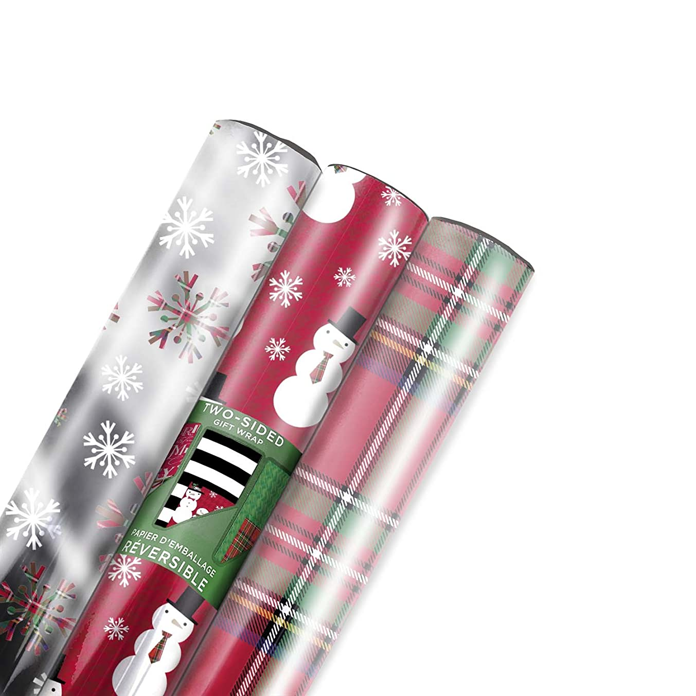 Hallmark Reversible Christmas Wrapping Paper Bundle, Contemporary Foil (Pack of 3, 60 sq. ft. ttl.)