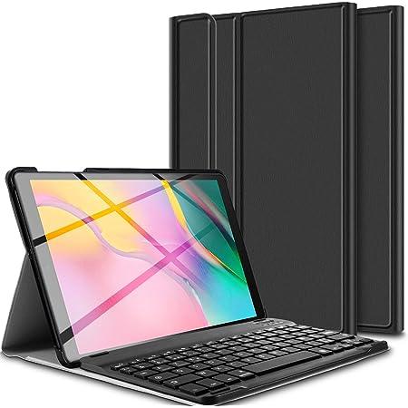 ELTD Funda Teclado Español Ñ para Samsung Galaxy Tab A 10.1 Pulgadas 2019 T510/515, Protectora Cover Funda con Desmontable Wireless Teclado, (Negro)