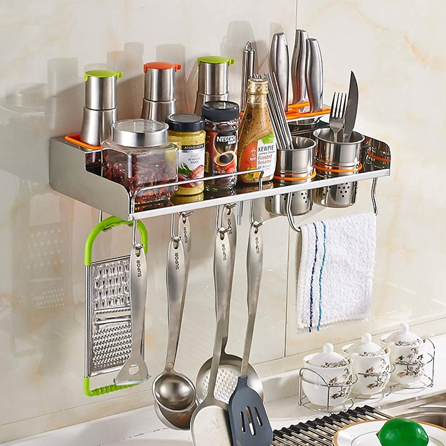 Kitchen Pan Rack, Wall Mounted Utensil Hanging Rack 304 Stainless Steel Hange Hooks for Kitchen Tools, Pot,Towel- Ideal Storage (Size   A)