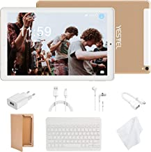 Tablet 10 Pulgadas 4G LTE Tabletas con 3GB RAM & 32GB ROM y YESTEL Android 8.0 Dual SIM Call, 5.0 MP + 8.0 MP HD la Cámara y 8000mAH (WI-FI ,GPS, Bluetooth ,FM Radio) Blanco/Dorado