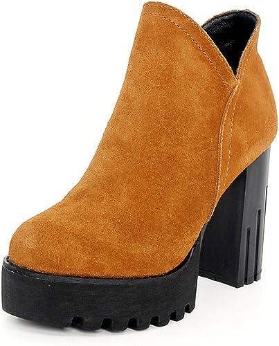HBDLH chaussures chaussures DA femmes 11cm Haut Talon Rugueux avec Martin Bottes Femelle British Wind étanche Plate-Forme Bottes Rétro Bare Bottes.  le plus en vogue