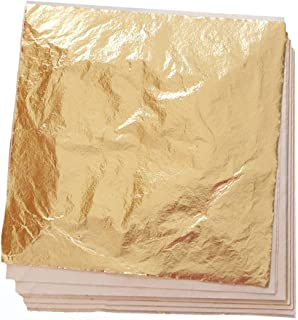 100 Sheets Imitation Gold Leaf for Art, Crafts Decoration, Gilding Crafting, Frames, 5.5 by 5.5 Inches