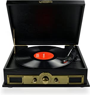 mbeat Vintage USB Wooden Turntable Vinyl Record Player SPK/AM/FM & Bluetooth Speaker Function Black