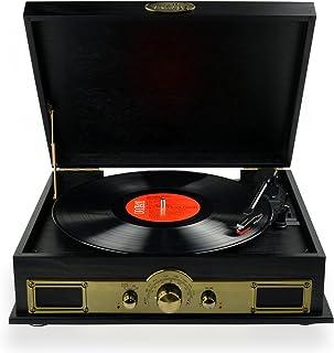 mbeat Vintage USB Wooden Turntable Vinyl Record Player SPK/AM/FM & Bluetooth Speaker Function Black