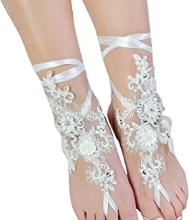 Lace Barefoot Sandals,Beach Wedding Anklet,Sexy Jewelry,Wedding Shoes with Sparkle Sequins