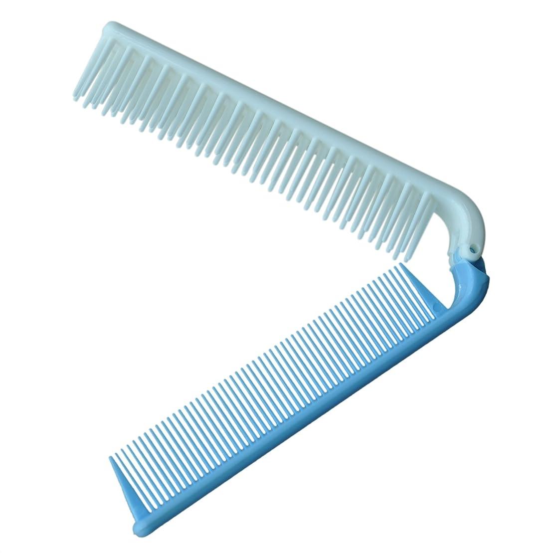 デコラティブスケートスクラップブックACAMPTAR 旅行スカイブルー粗い歯の折りたたみデュアルヘアブラシ ポケットくし 7.4