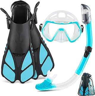 ست غواصی ماسک فین ZEEPORTE با دنده غواصی بزرگسالان ، ماسک غواصی با نمای پانورامیک ، Trek Fin ، کیف های مسافرتی Snorkel Dry Top ، اسنورکل برای شنای دور پا