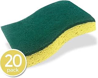 STK 20-Pack Multi-Use Heavy Duty Scrub Sponge - Odor Reduction Technology - Viscose Sponges - 100% Biodegradable & Eco Friendly - Kitchen-Bathroom - Car - Individually Wrapped