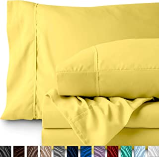 Bare Home Twin XL Sheet Set - College Dorm Size - Premium 1800 Ultra-Soft Microfiber Sheets Twin Extra Long - Double Brushed - Hypoallergenic - Wrinkle Resistant (Twin XL, Lemon Drop)