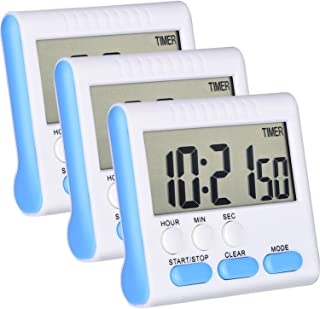 Mudder 3 Pack 24 Hours Magnetic Kitchen Timers with Digital Alarm Clock Timer, Loud Alarm and Big Screen (Blue)