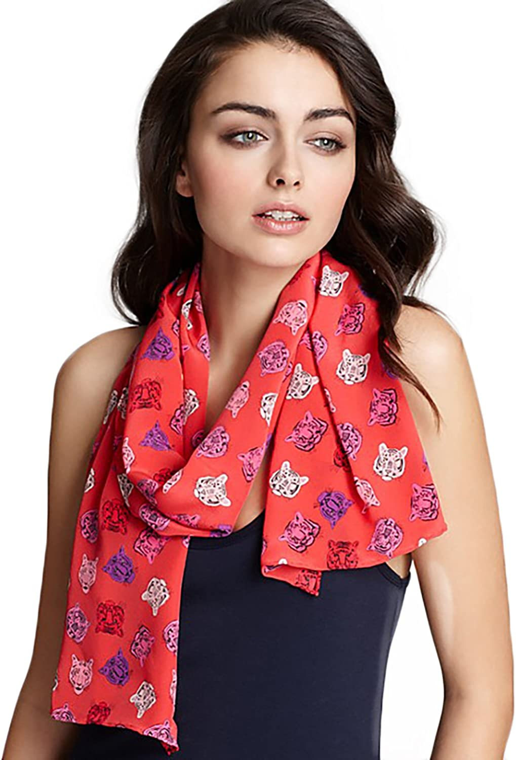 Charlotte Sparre Womens Tiger Head Silk Printed Scarf