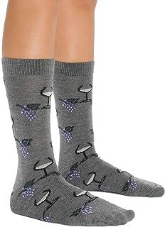 Mens Comfortable Merino Wool Socks Wine Glass and Grape Design 3 Color Options