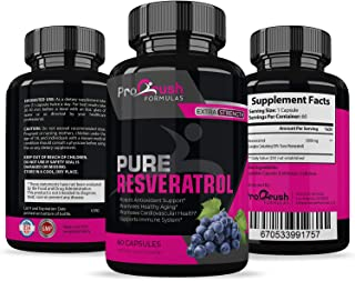 Pure Resveratrol- Natural Red Wine Antioxidant Supplement. Supports Heart Health, Weight Loss, Immune System, Cardiovascular Health with Anti-Aging Benefits for a Healthier Life for Men & Women.
