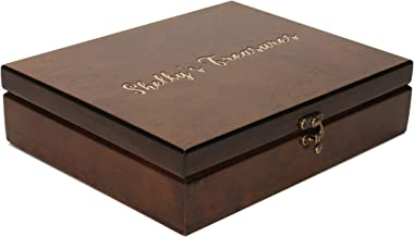 WE Games Custom Engraved Monogram Old World Wood Treasure Box with Brass Latch - Walnut Stained
